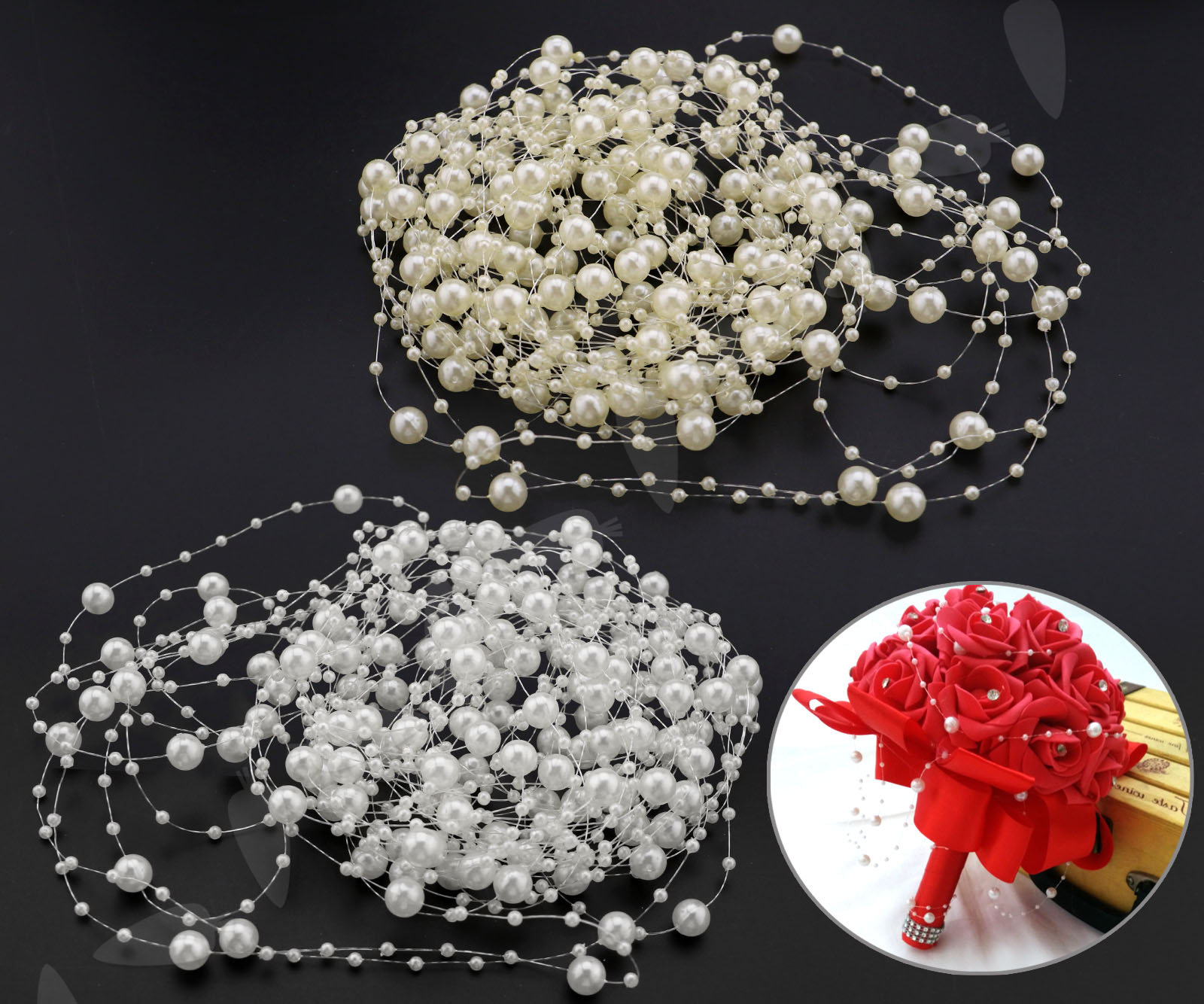 10m Perlengirlande 8mm 3mm Acryl Hochzeit Tischdeko Perlenband Ebay