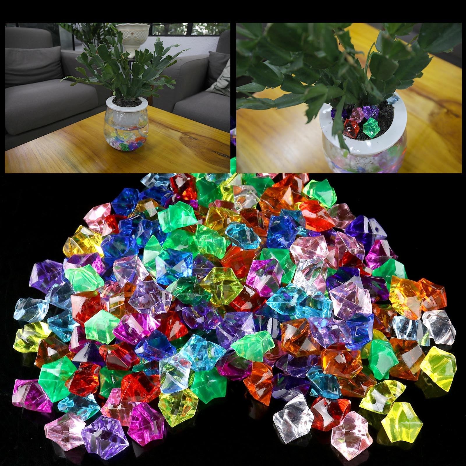 200 pcs Beads Vase Filler Crystal Gems Pirate Party Craft Props Home Display