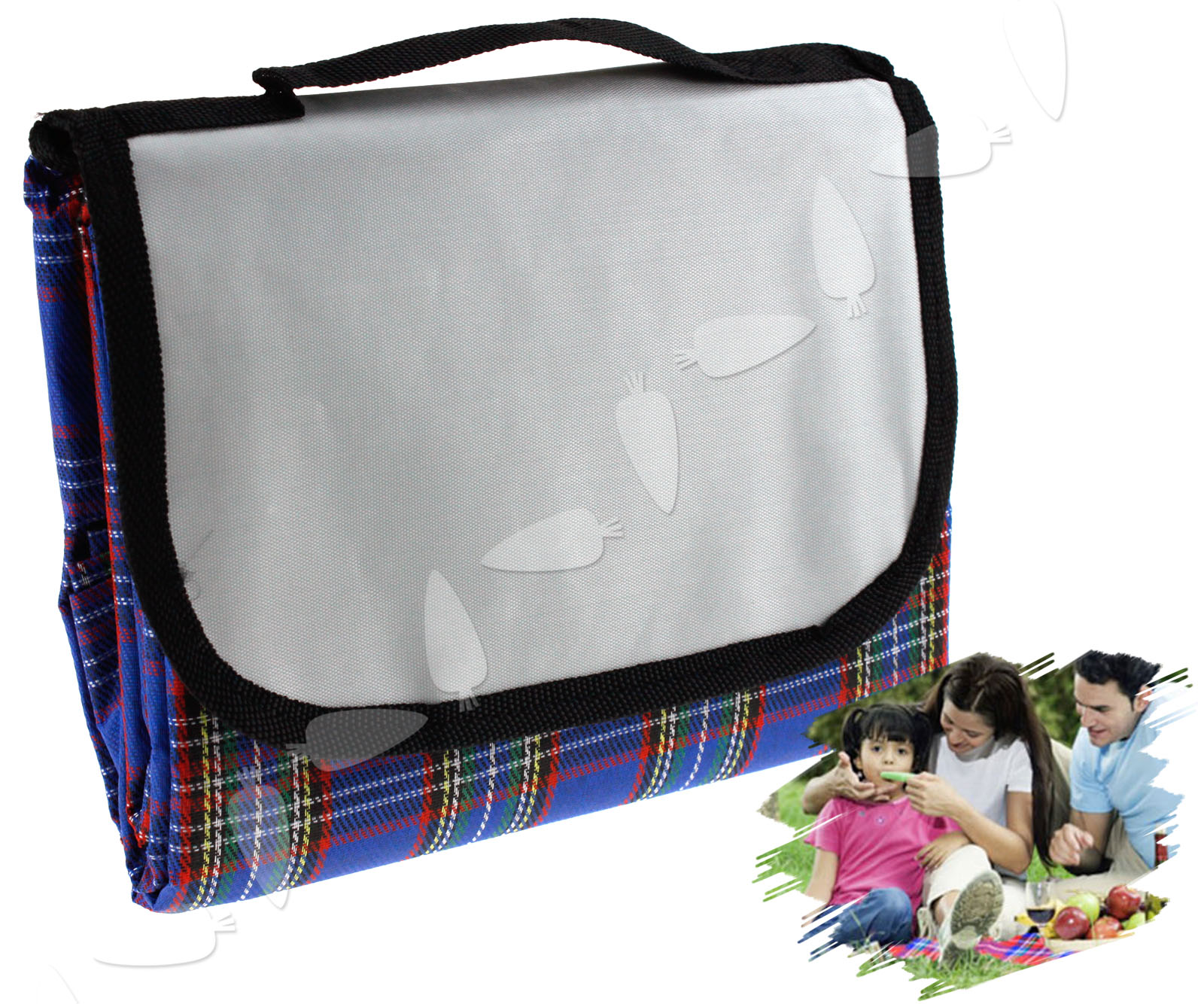 Outdoor blue large 57x76 waterproof picnic blanket travel for Au maison picnic blanket