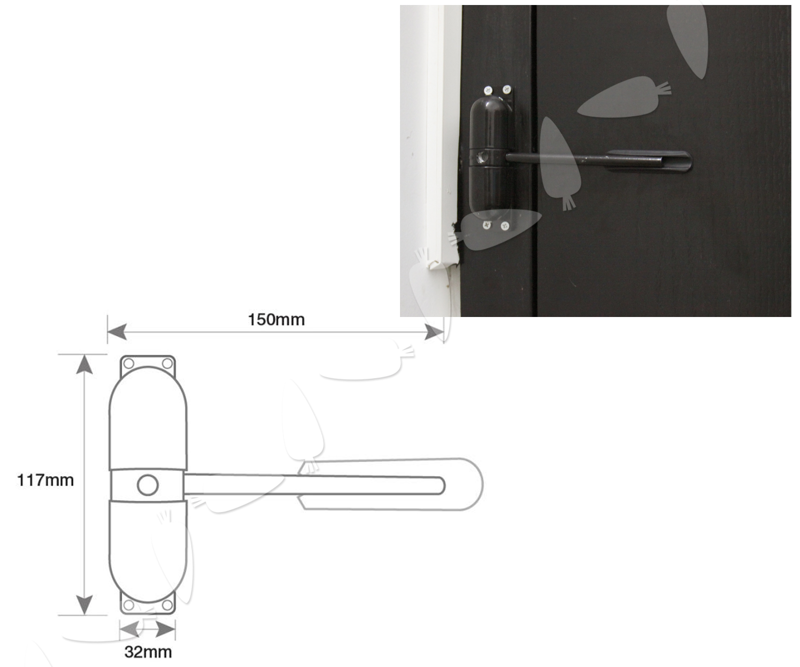 Black Door Closer Fire Rated Loaded Auto Closing Surface