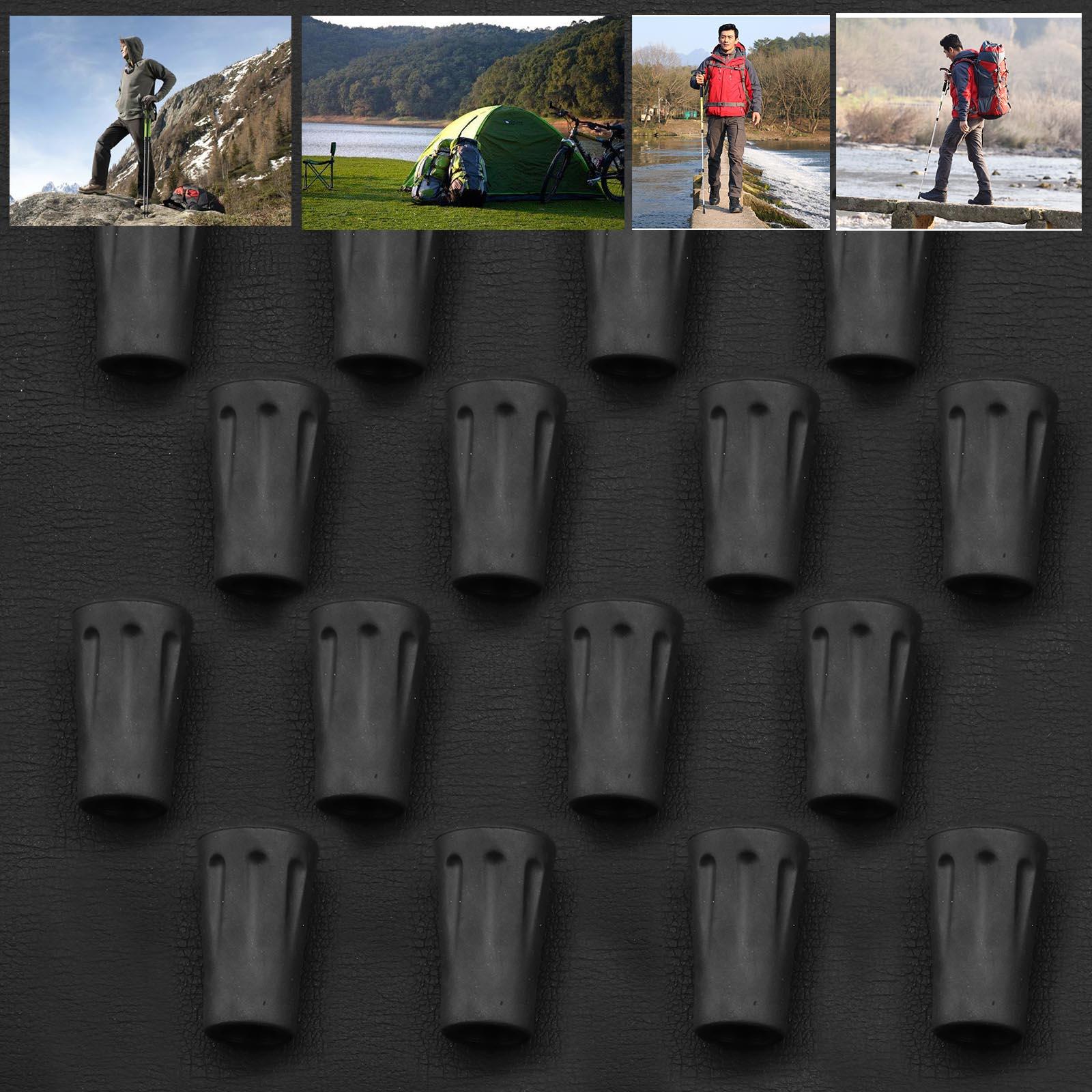 Collapsible Hiking Walking Sticks Alpenstocks Anti Shock Tips 16Pcs Black Rubber