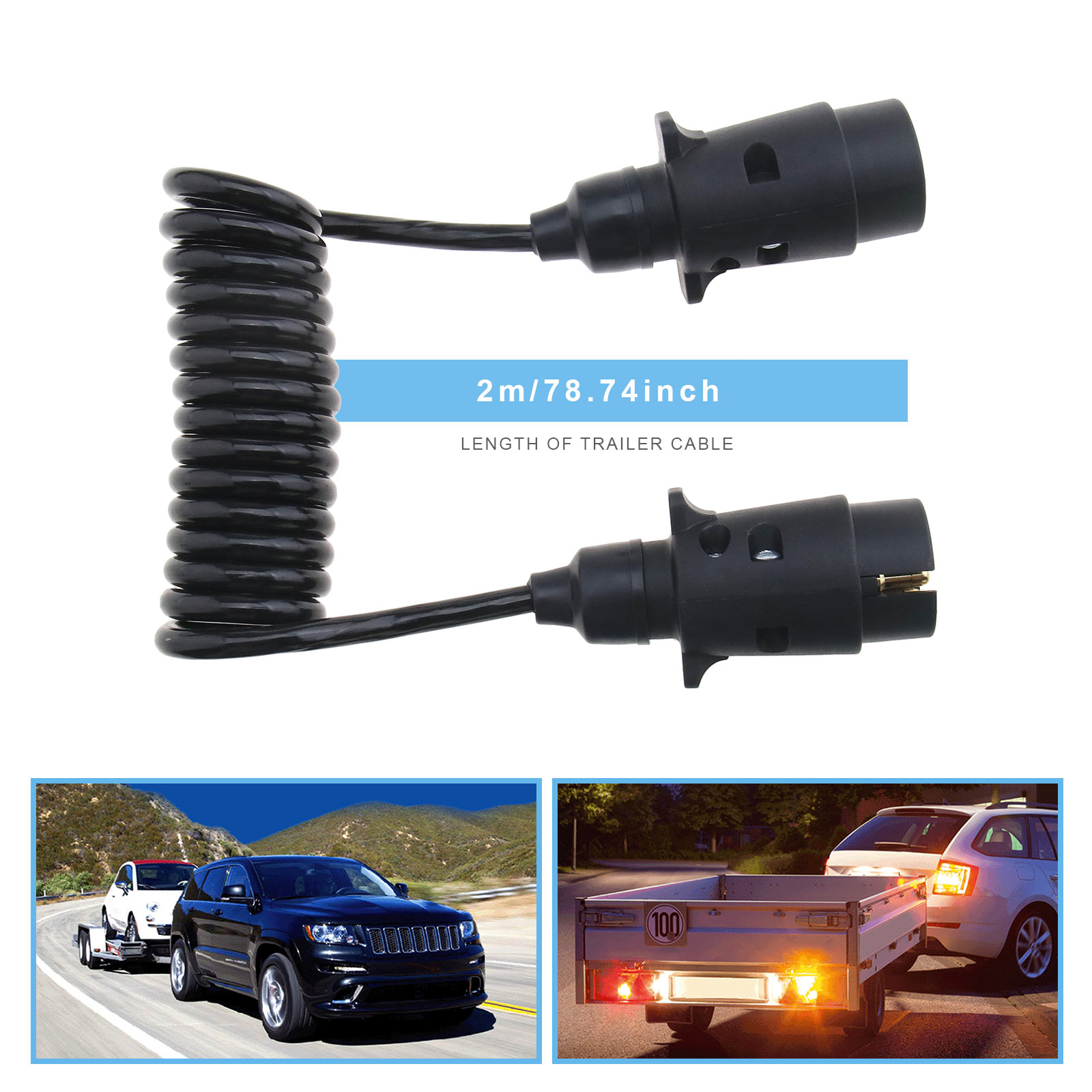 Trailer Lighting Board Extension Lead Cable Connector 1.2m Cable Socket Plug