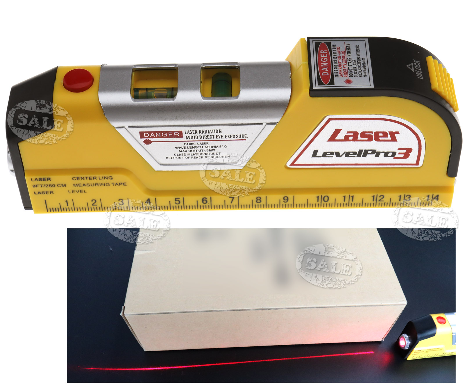 2 5m Horizontal Vertical Line Laser Level Measure Tape