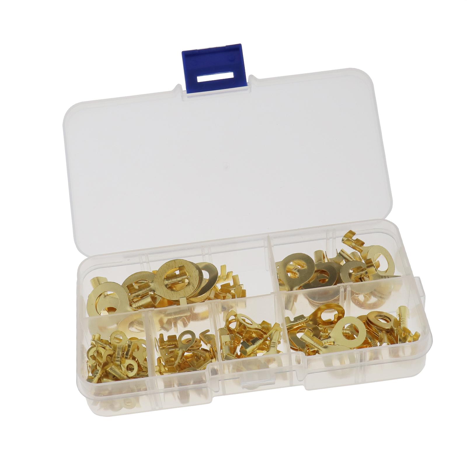 150Pcs-Anneaux-cable-anneau-laiton-cuivre-Set-de-melange-Box-M3-M4-M5-M6-M8-M10 miniature 2