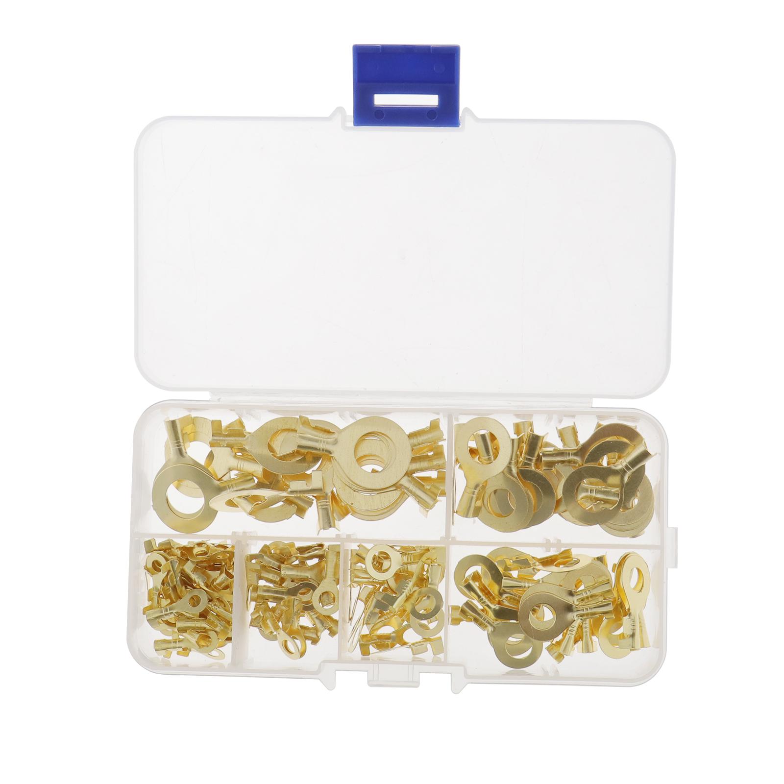 150Pcs-Anneaux-cable-anneau-laiton-cuivre-Set-de-melange-Box-M3-M4-M5-M6-M8-M10 miniature 3