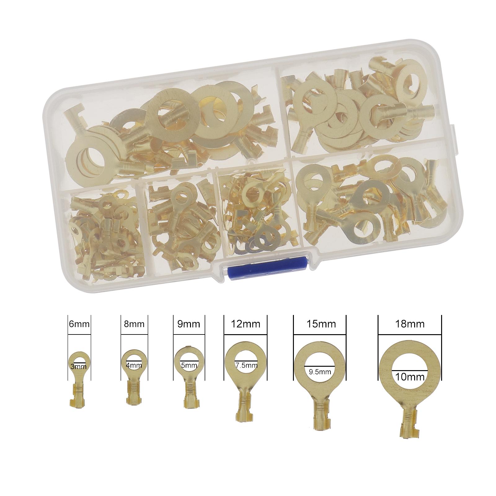 150Pcs-Anneaux-cable-anneau-laiton-cuivre-Set-de-melange-Box-M3-M4-M5-M6-M8-M10 miniature 8
