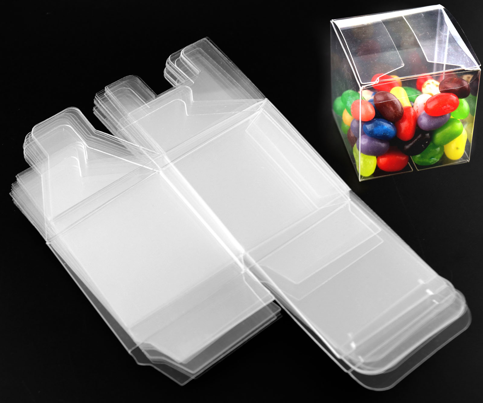 Details about 25/50 pcs Square Transparent Cube BoxesFavour Sweet Candy  Cake Gift Chiristmas