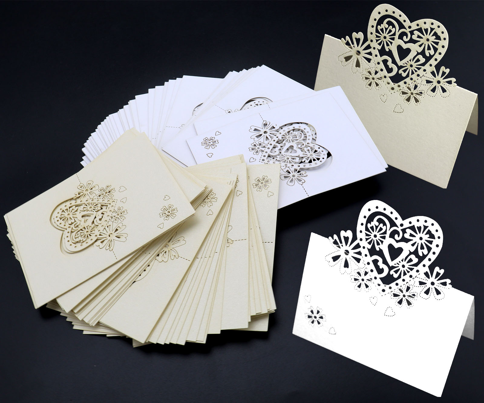 10PCS Heart Wedding Name Place Cards For Wine Glass Cut On Pearlescent Card High