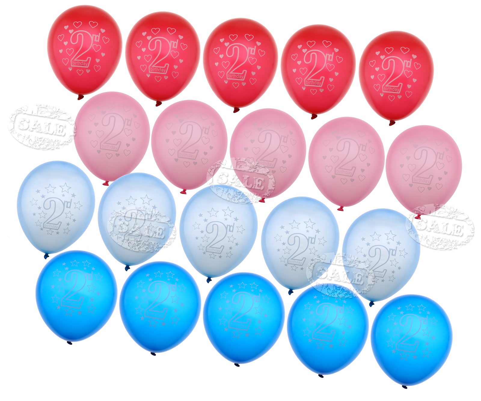20pcs 2ND Birthday Age 2 And BABY Blue Pink BALLOONS Party Decors Supplies
