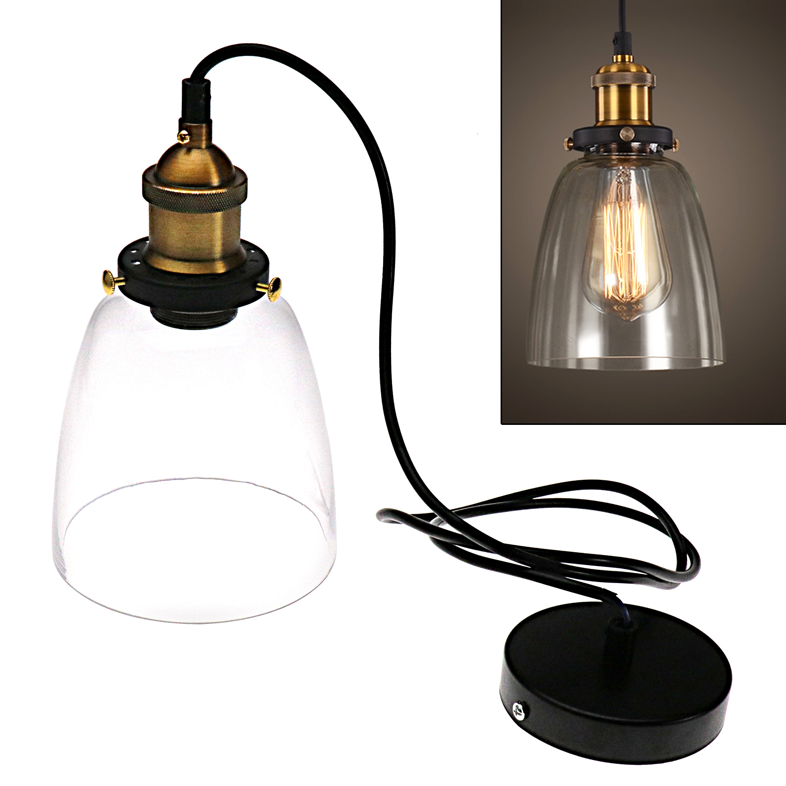Details about retro industrial ceiling lamp shop glass pendant light shade lighting screws set