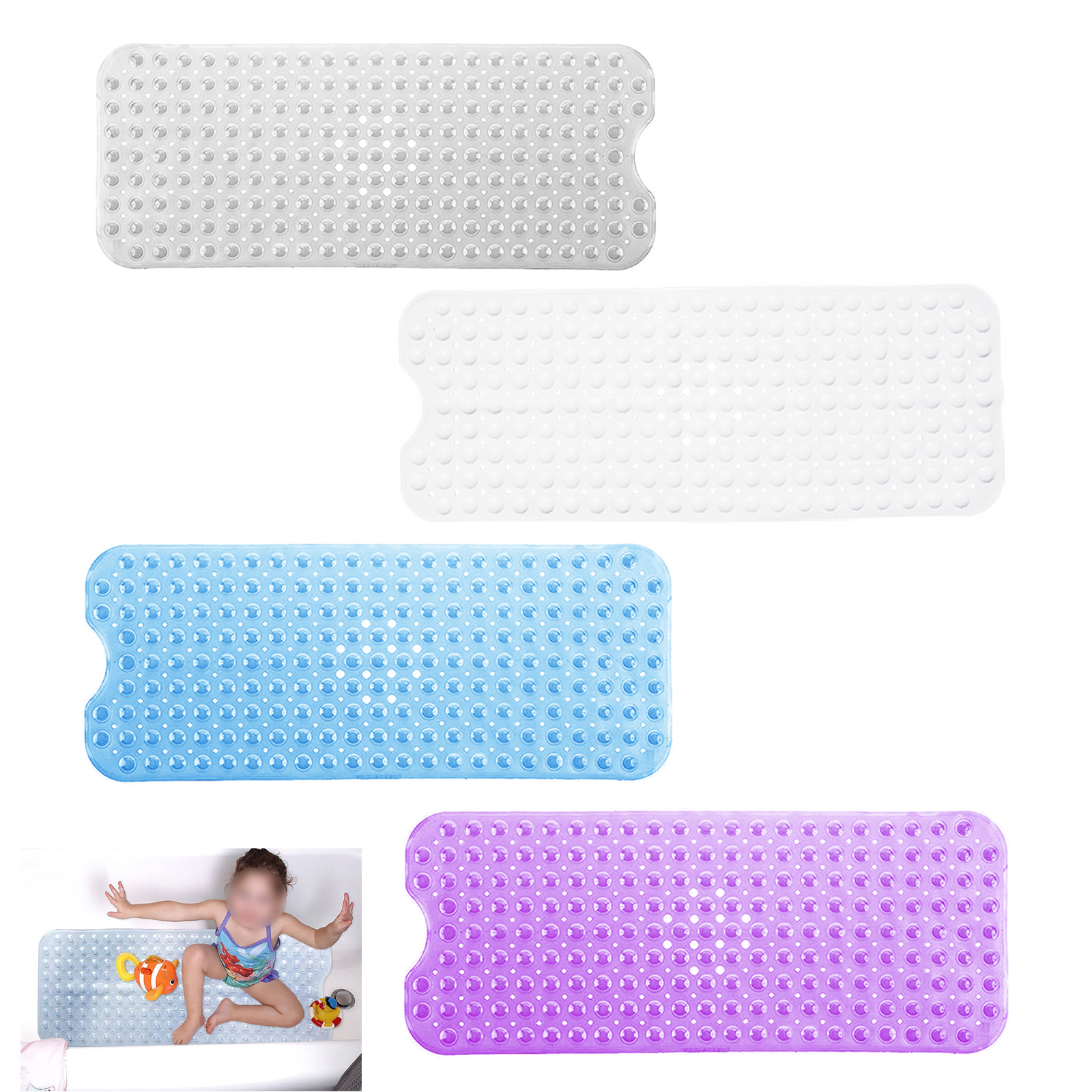 Non Slip Long Safety Bath Mat Anti Skid Shower Bathtub Rubber With 4color