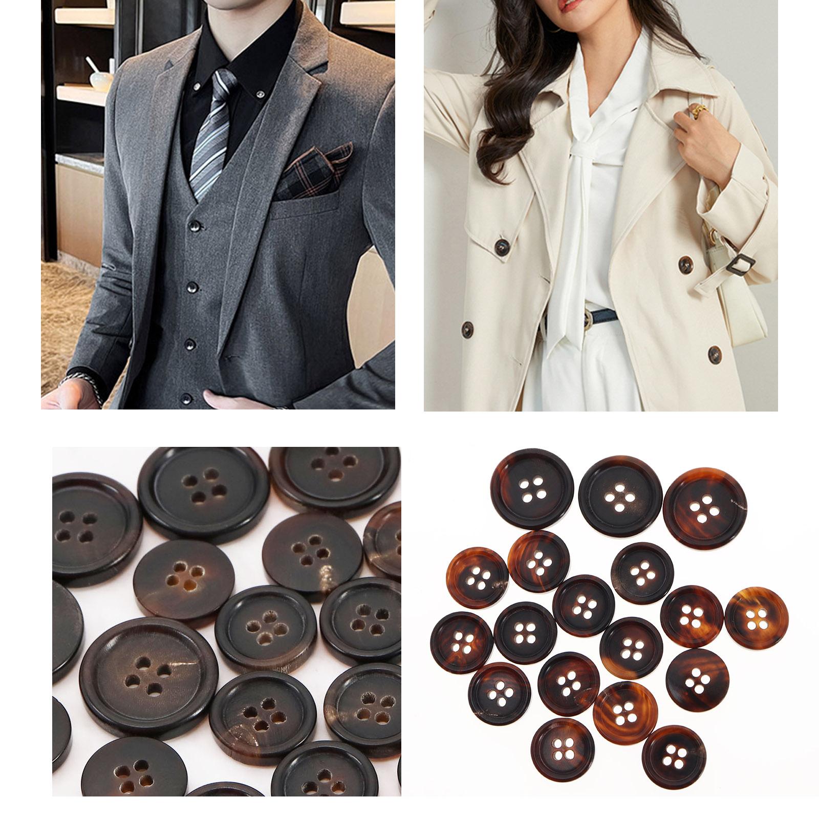 Jacket Upholstery Blazer 2pcs Round BLACK Metal Shank Sew on Buttons