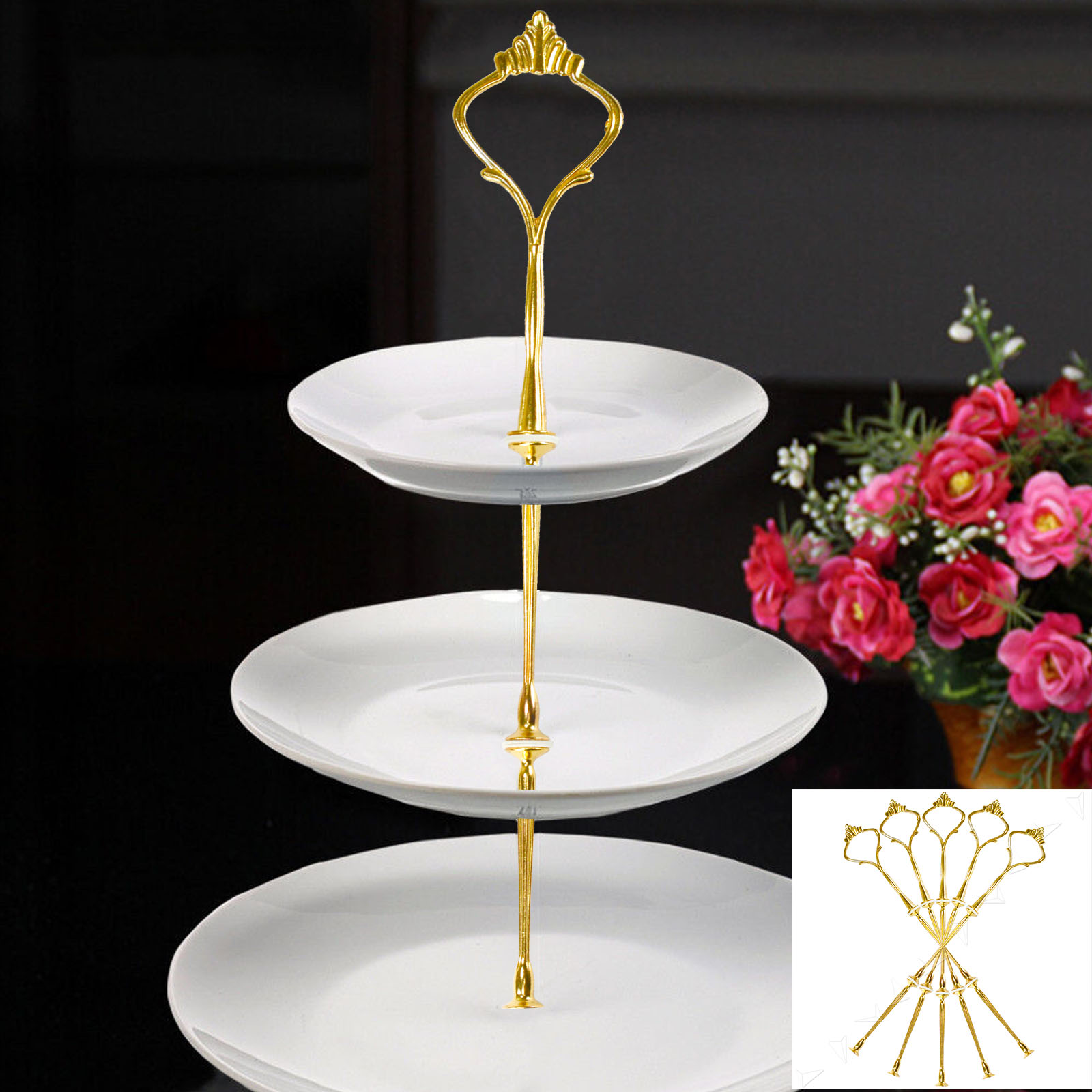 5 tier wedding cake stand set 5pcs 3 tier cake plate stand cupcake display fittings 10474