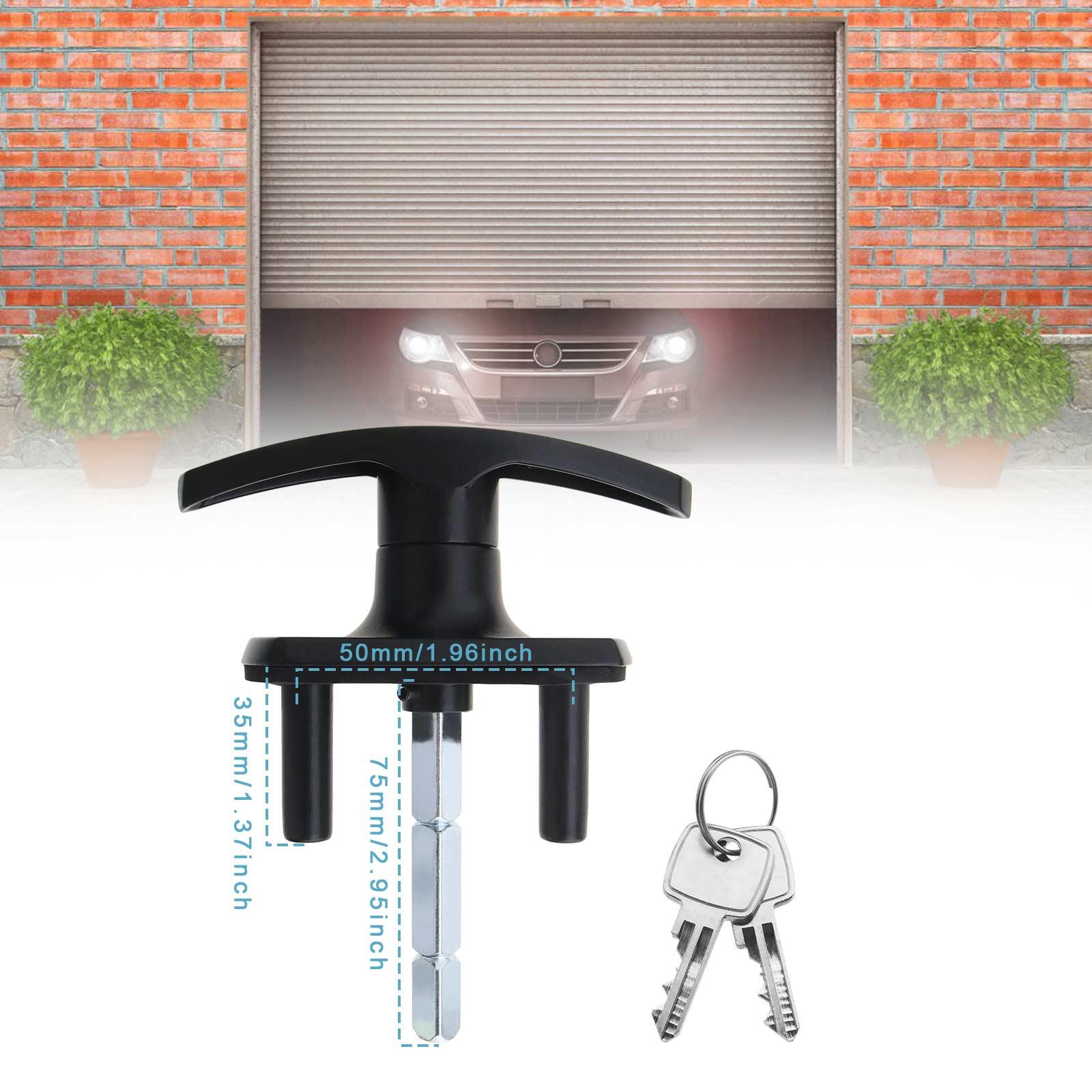 T Handle Garage Door Lock 75mm Shaft Fixing Spigots For Henderson