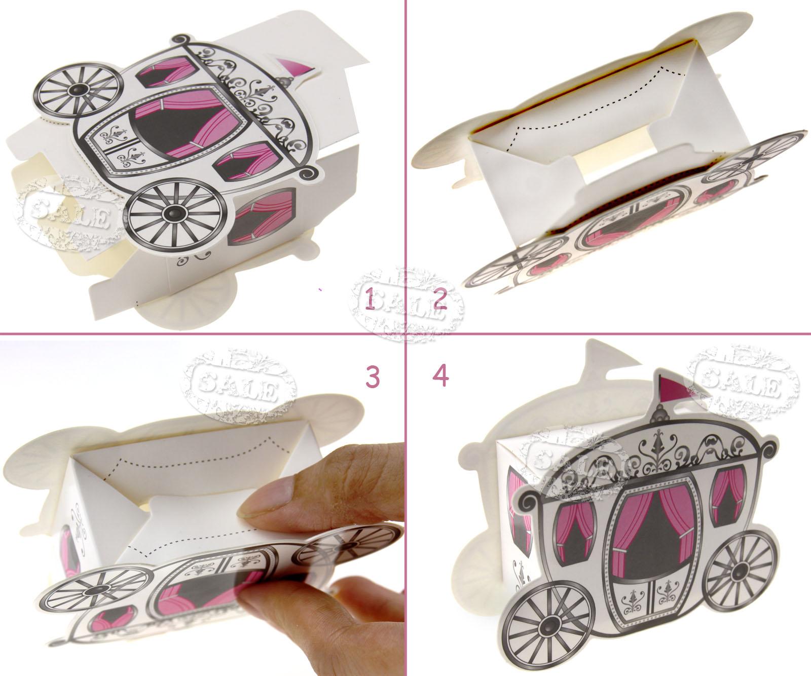 50 x Princess Candy Box Cinderella Fairytale Carriage Wedding Favour ...