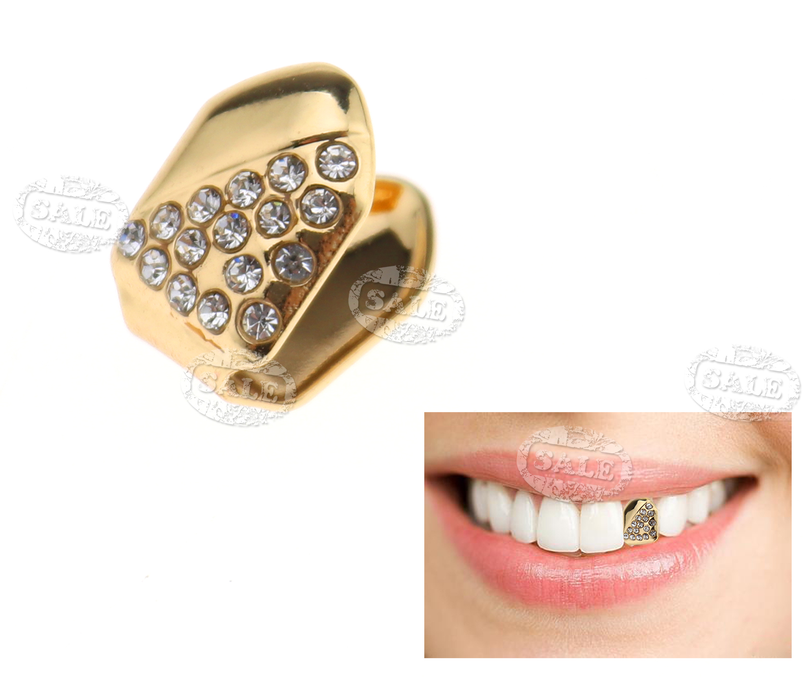 24k Gold Plated Single Tooth Grill Cap Diamante Teeth Hip