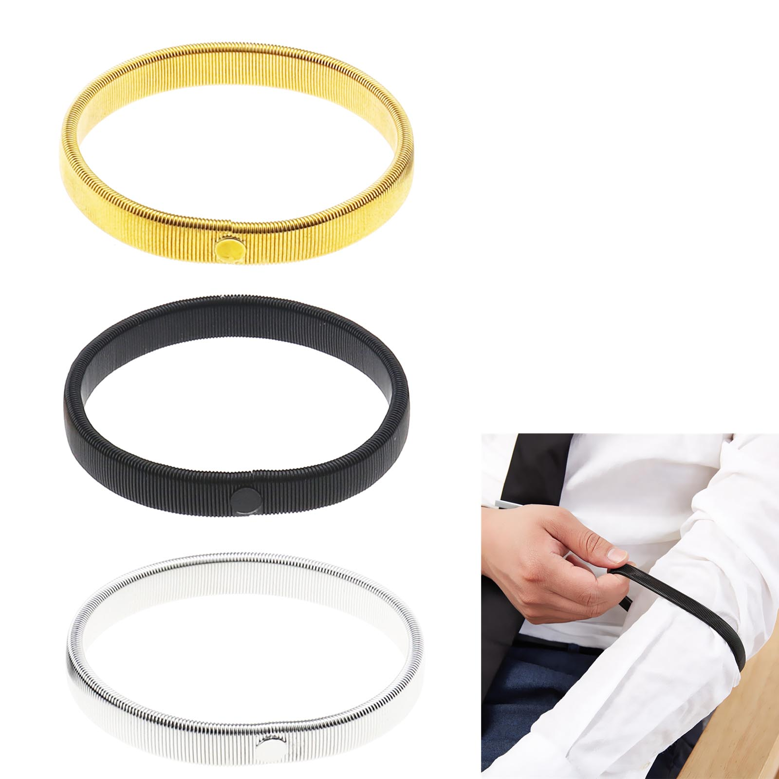Anti-Slip Metal Shirt Sleeve Holders Armband Arm For Band Stretch Elastic 6 PCS
