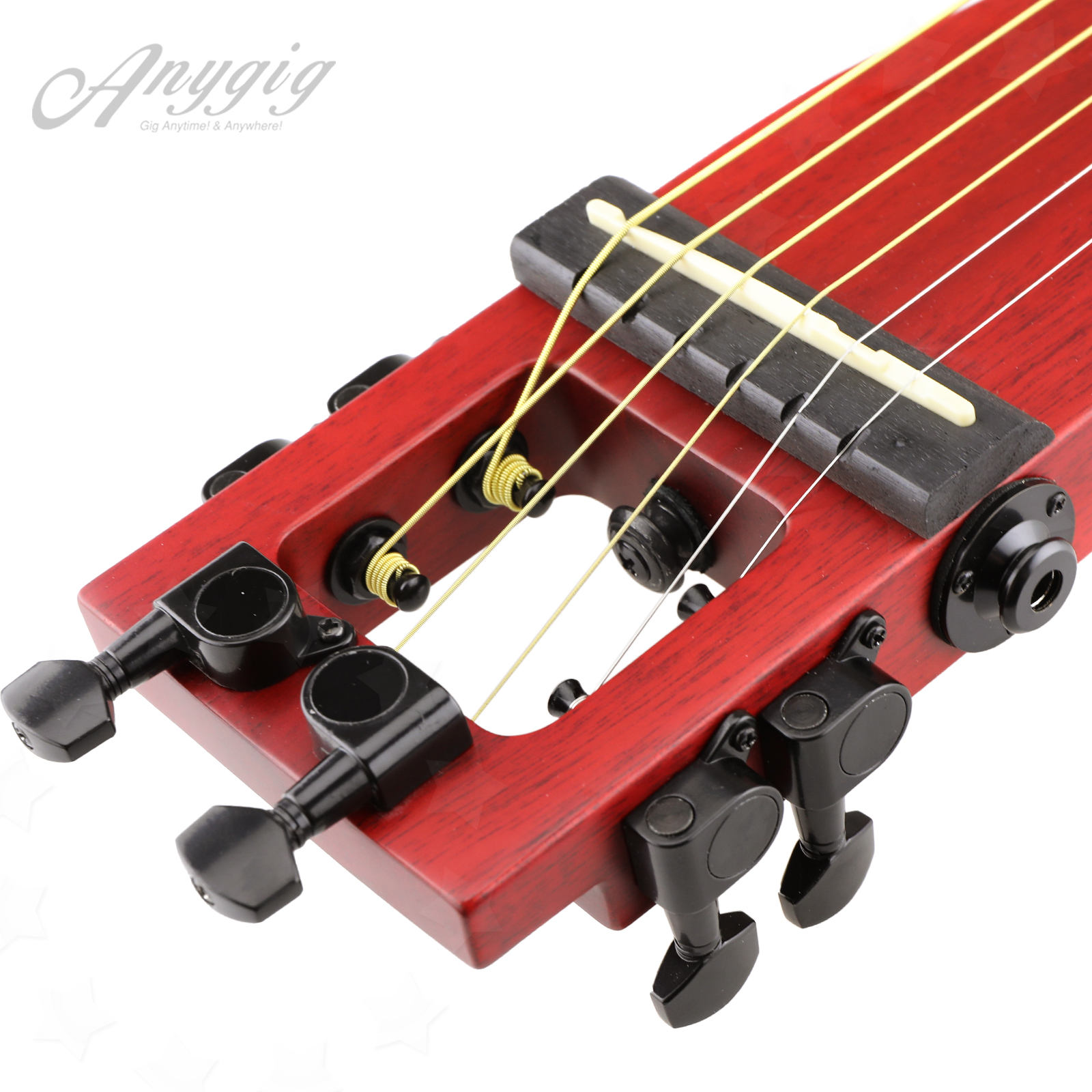 anygig ags 25 5 39 39 protable 6 steel strings acoustic right handed guitar cherry ebay. Black Bedroom Furniture Sets. Home Design Ideas