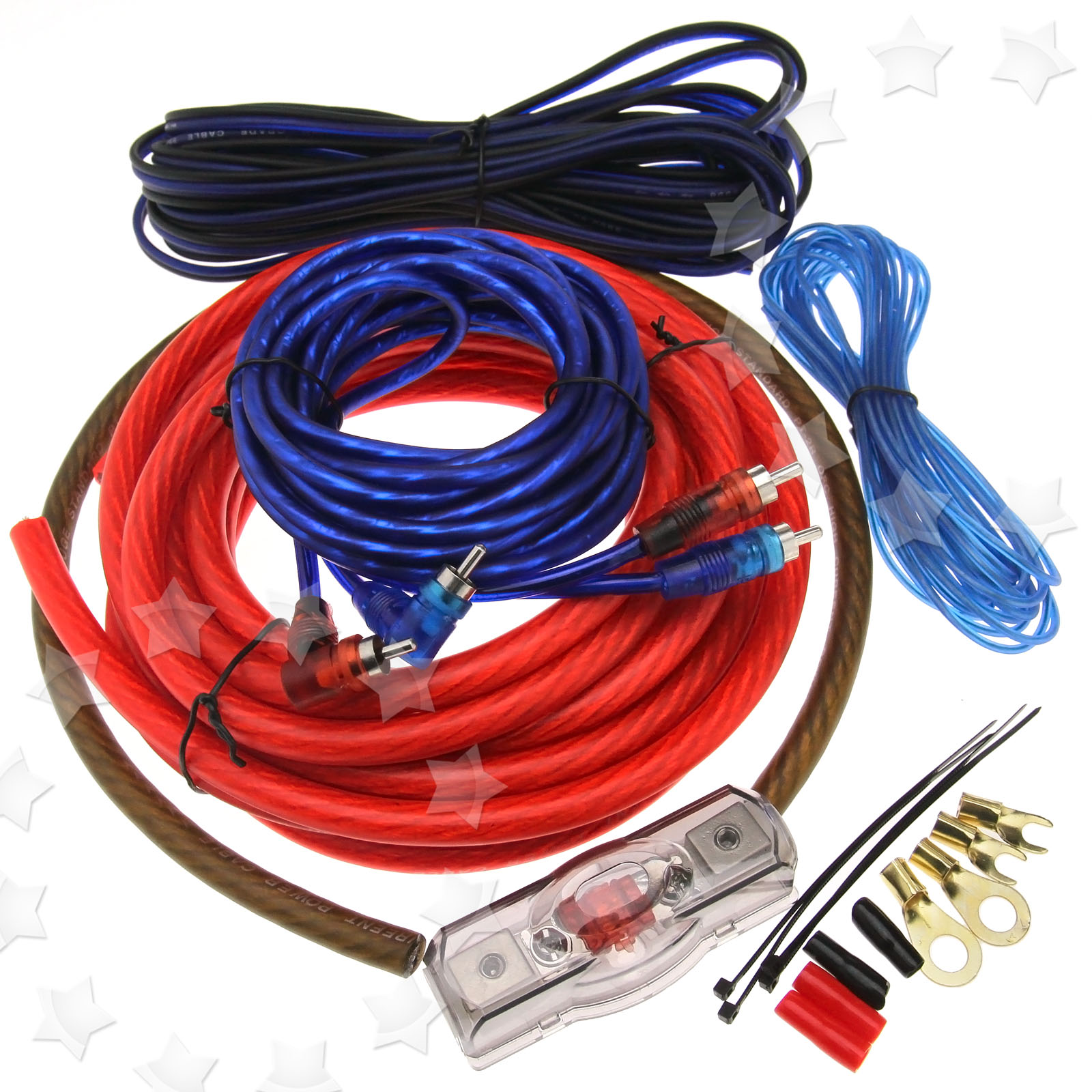 2000w 4 Gau 100a Car Amplifier Rca Wiring Fuse Audio Sound Amp And Subwoofer Photo Album Wire Sub 4ga Holder Cable Kit
