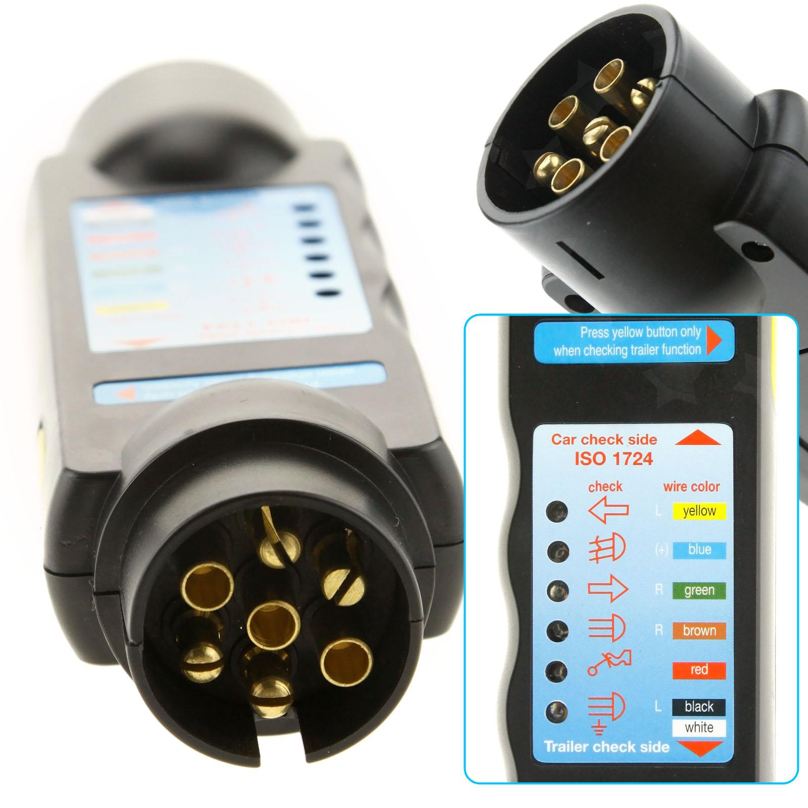 12 Volt 7 Pin Trailer Plug Socket Tester &13-pin socket Adapter ...