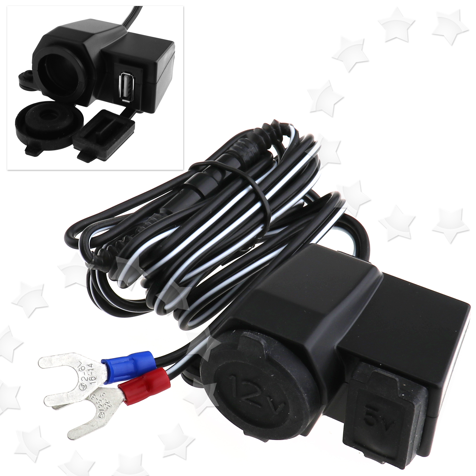 12v Motorbike Cigarette Lighter Socket Adapter Usb Power Phone Charger With Fuse 735548268499