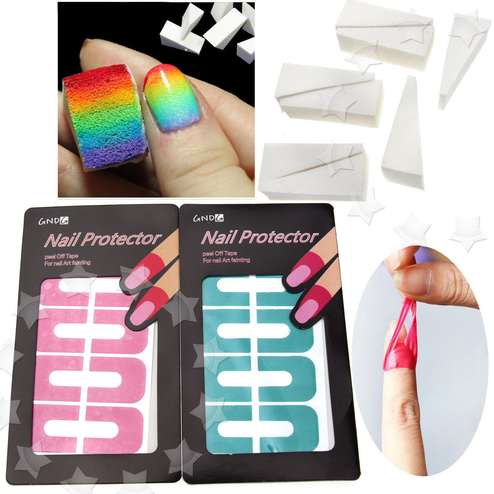 8pcs Nail Art Sponge Gradient 2 Sheet 20 Tips Nail Art Mani Tape