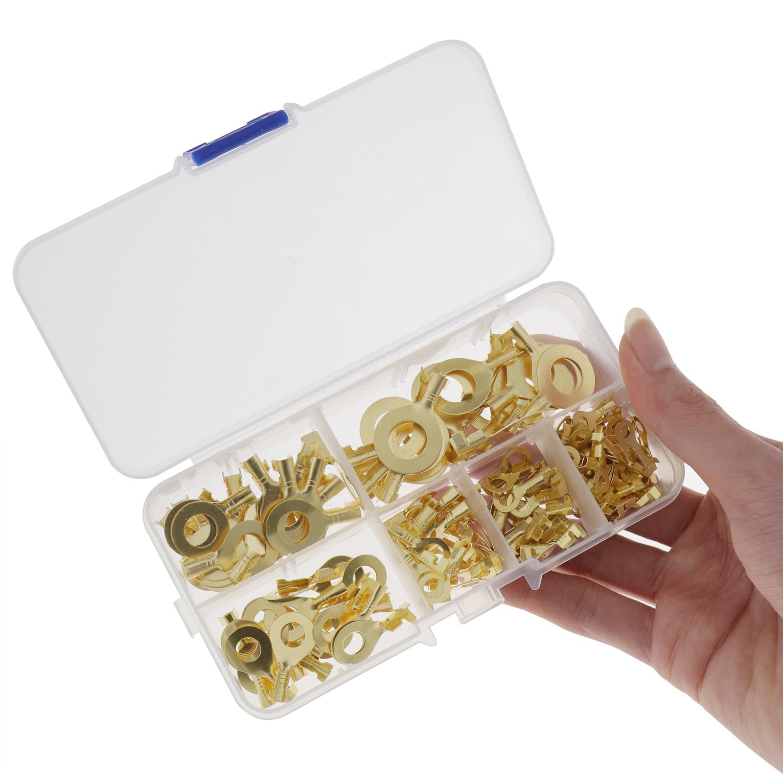 150Pcs-cable-en-laiton-a-anneau-en-cuivre-oeil-Assortiment-Ensemble-6-Taille miniature 3