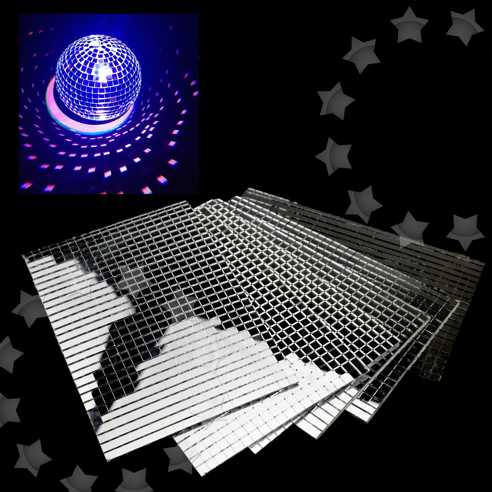 5 Sheets X 600pcs Tiny Silver Mirror Mosaic Tiles Diy Xmas