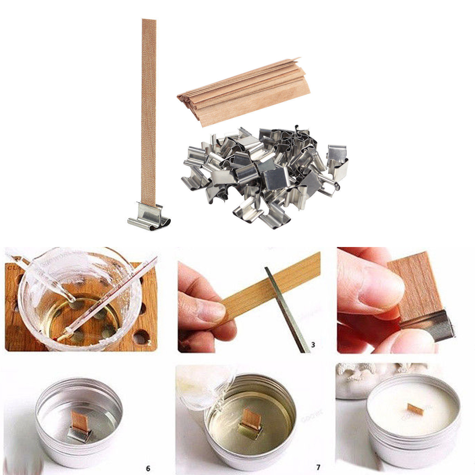 Wooden Candle Wicks Diy: Set Of 50 13/15cm Wooden Candle Wick Core With Sustainer