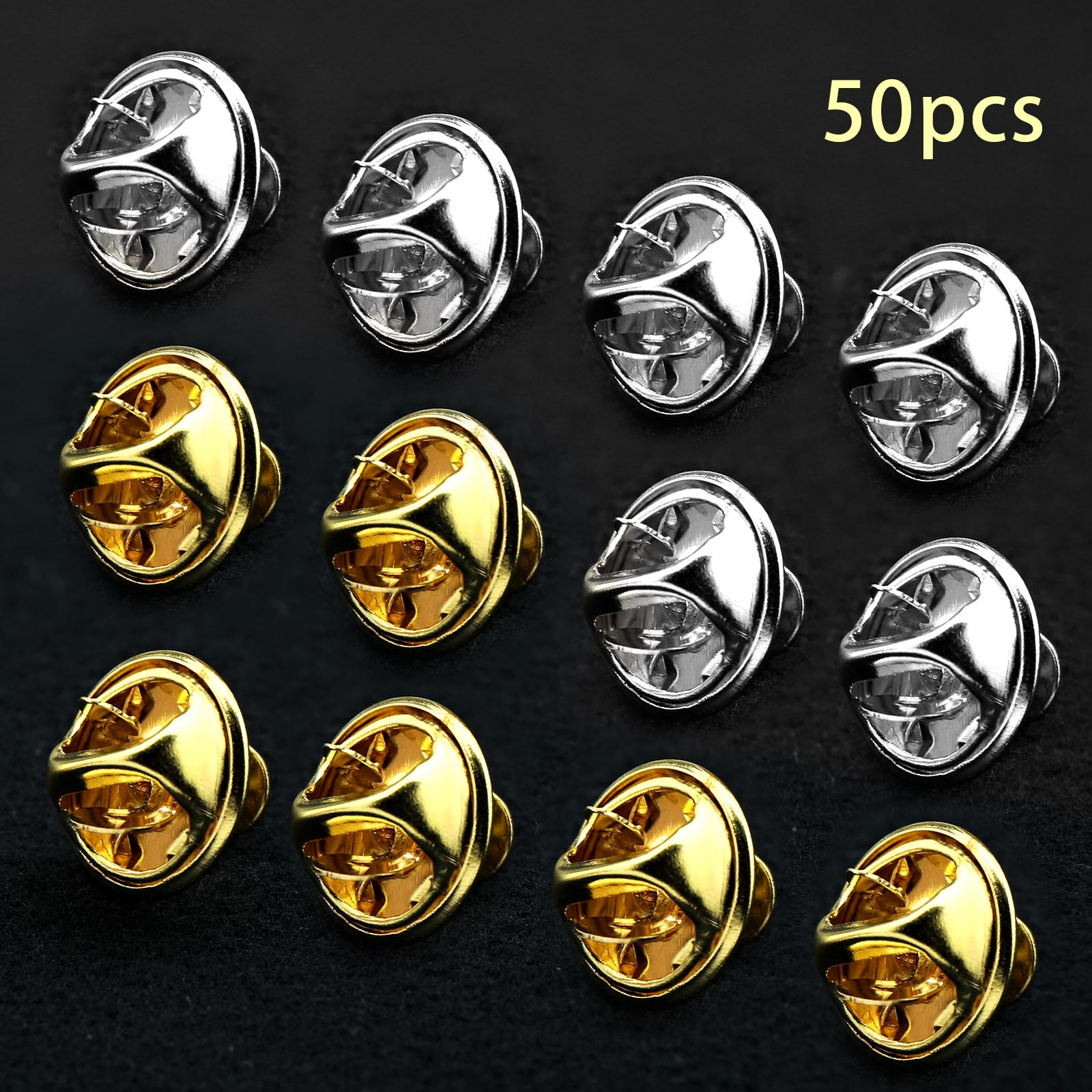 50pcs total gold silver each 25pcs locking pin keeper backs no tools required