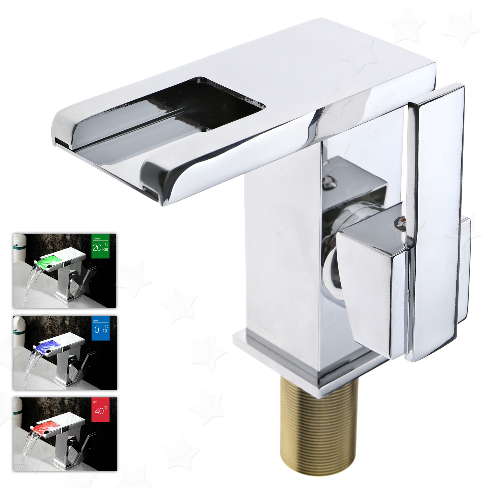 LED RGB Brass Bathroom Faucet Silver Chrome Temperature 3 Color ...