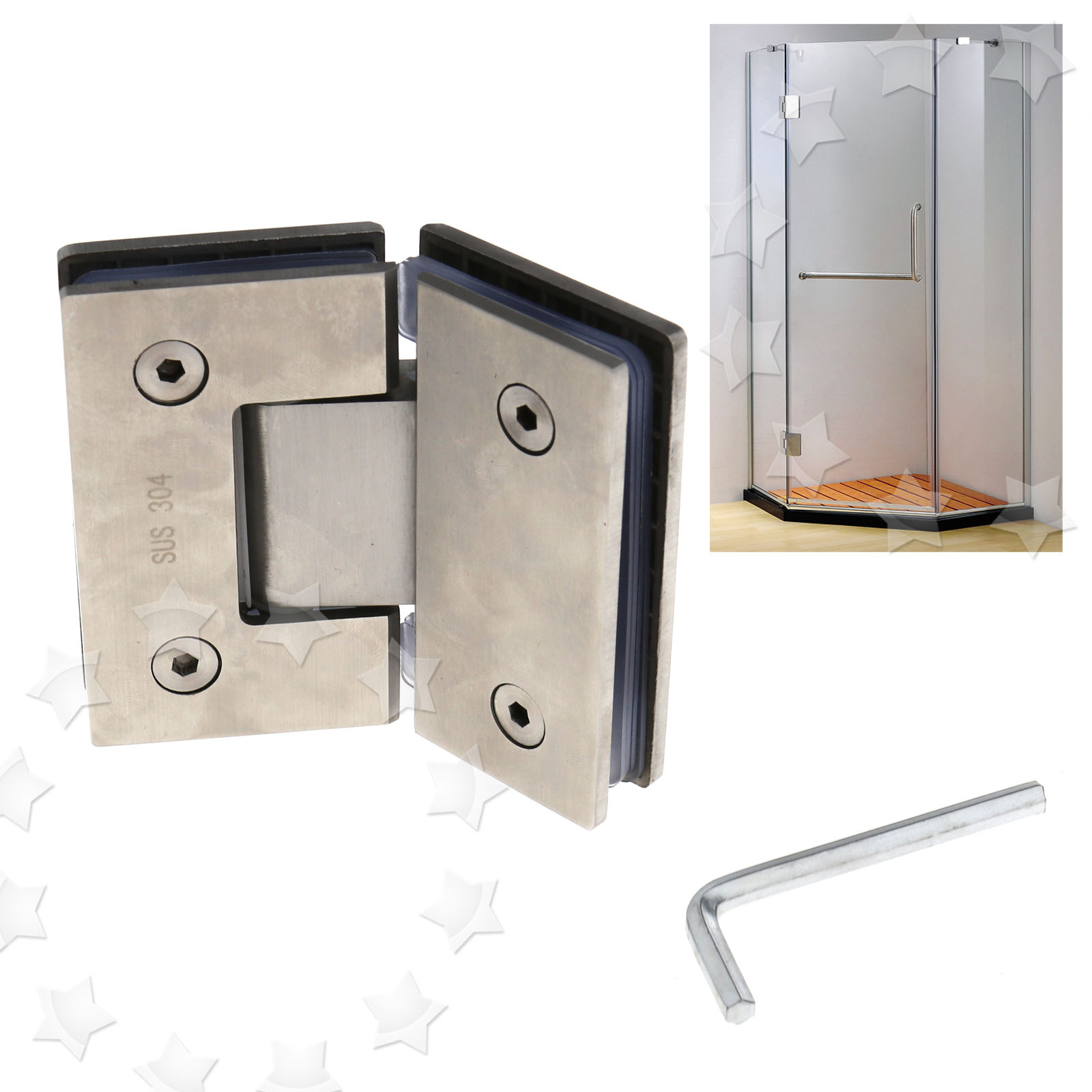 Details About 304 Stainless Steel Frameless Glass To Shower Door Hinge Chrome Plated Bracket