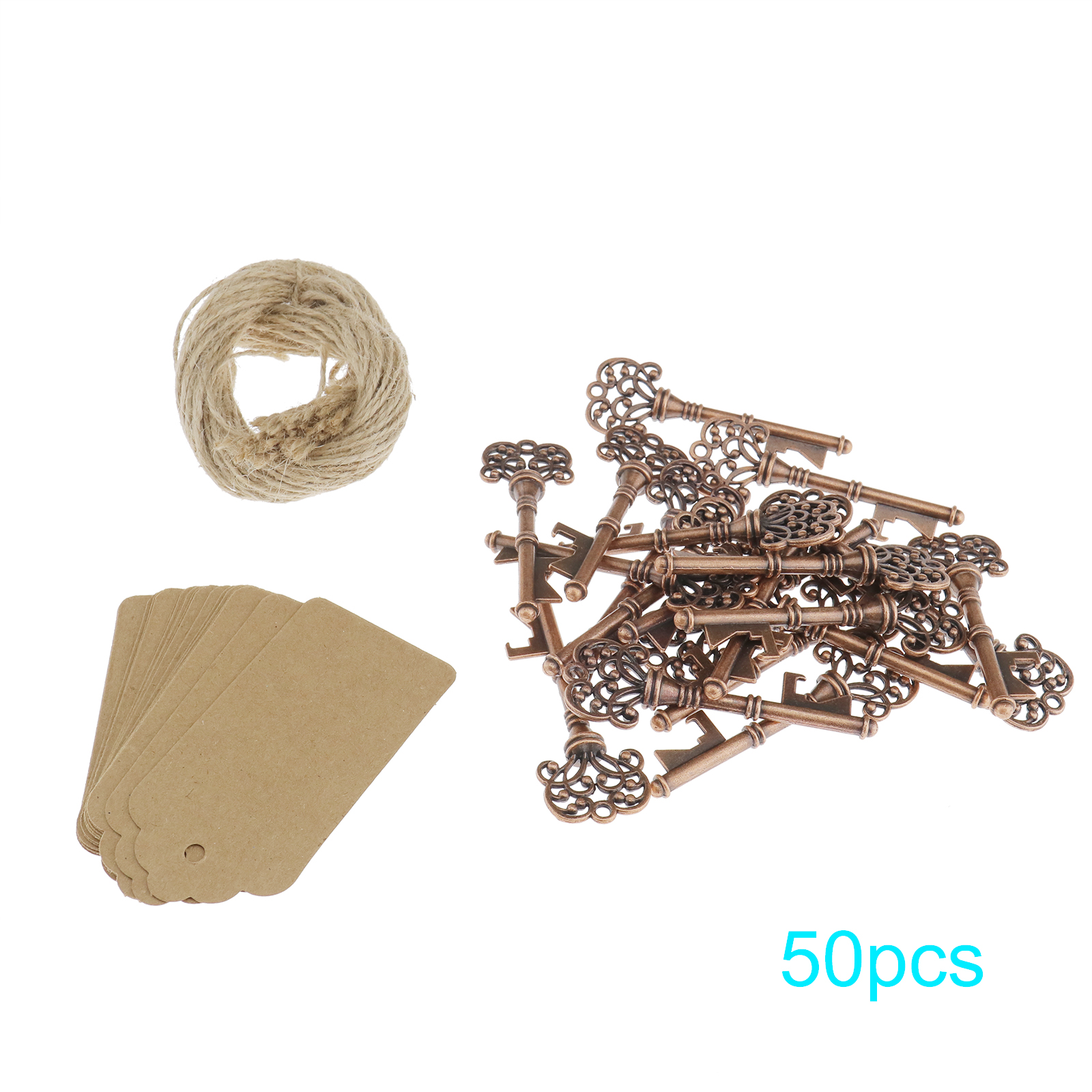 50X Antique Key Bottle Opener + Kraft Tag Card Twines For Party ...