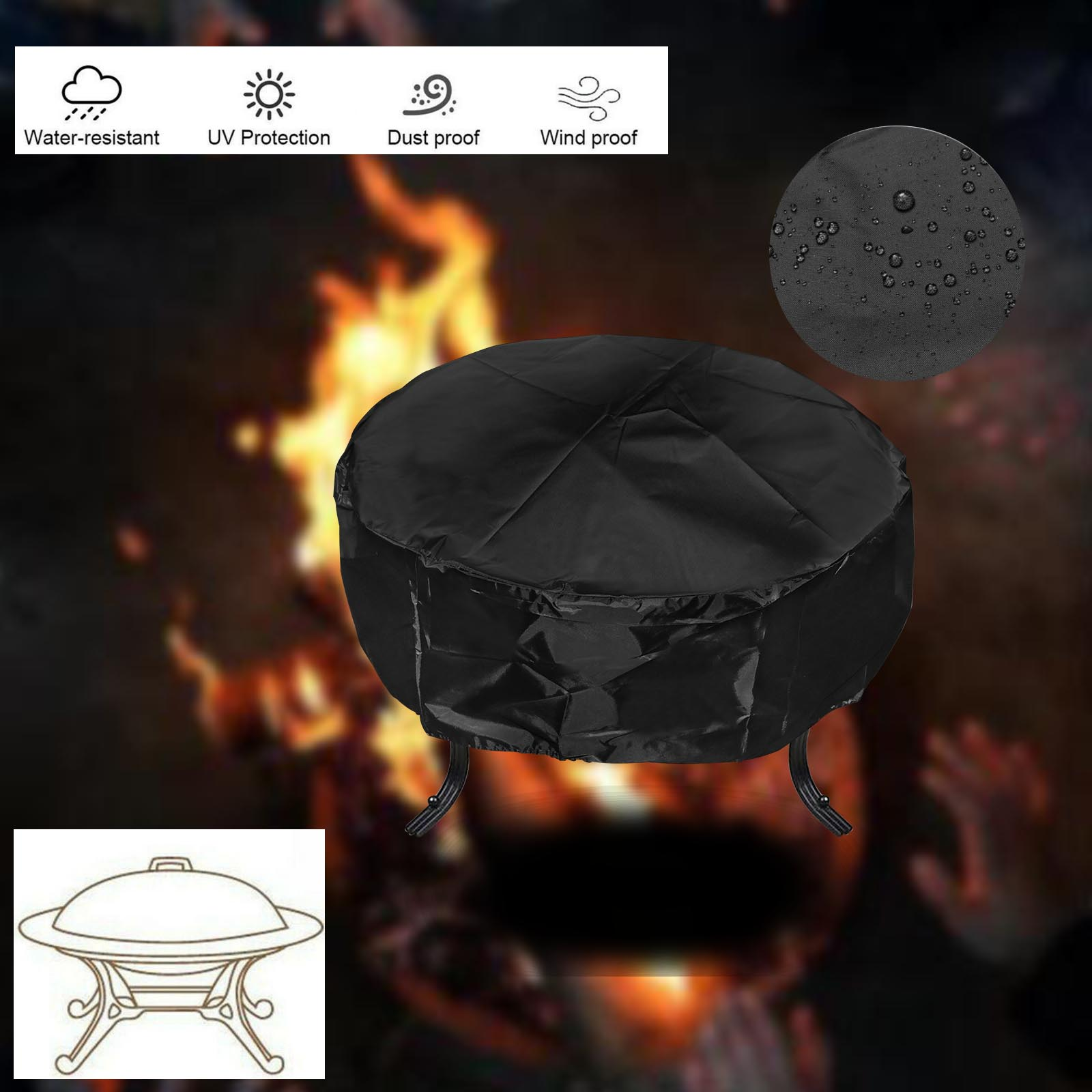"""30/'/'//36/"""" Black Round Heavy Duty Premium Waterproof Fire Pit Pit Table Cover"""