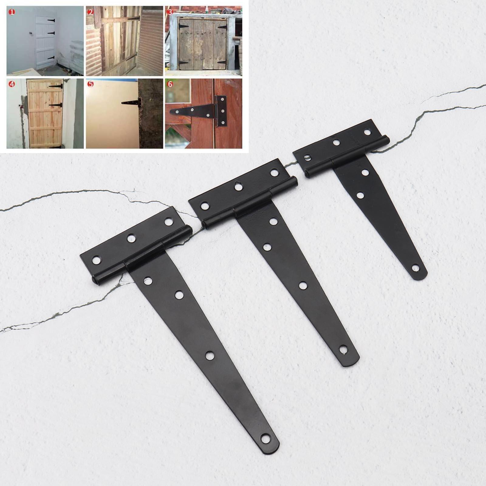 "One pair Black 10/"" plain tee hinges T hinge  gate shed"