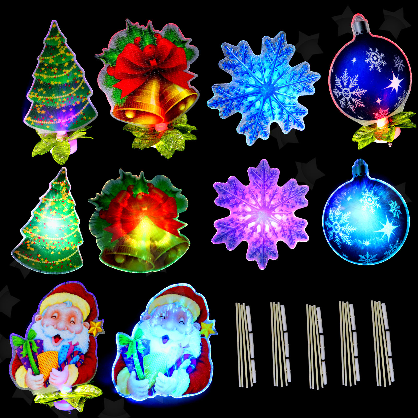 5pcs Led Light Up Merry Christmas Window Silhouette Home Decoration 4 Designs