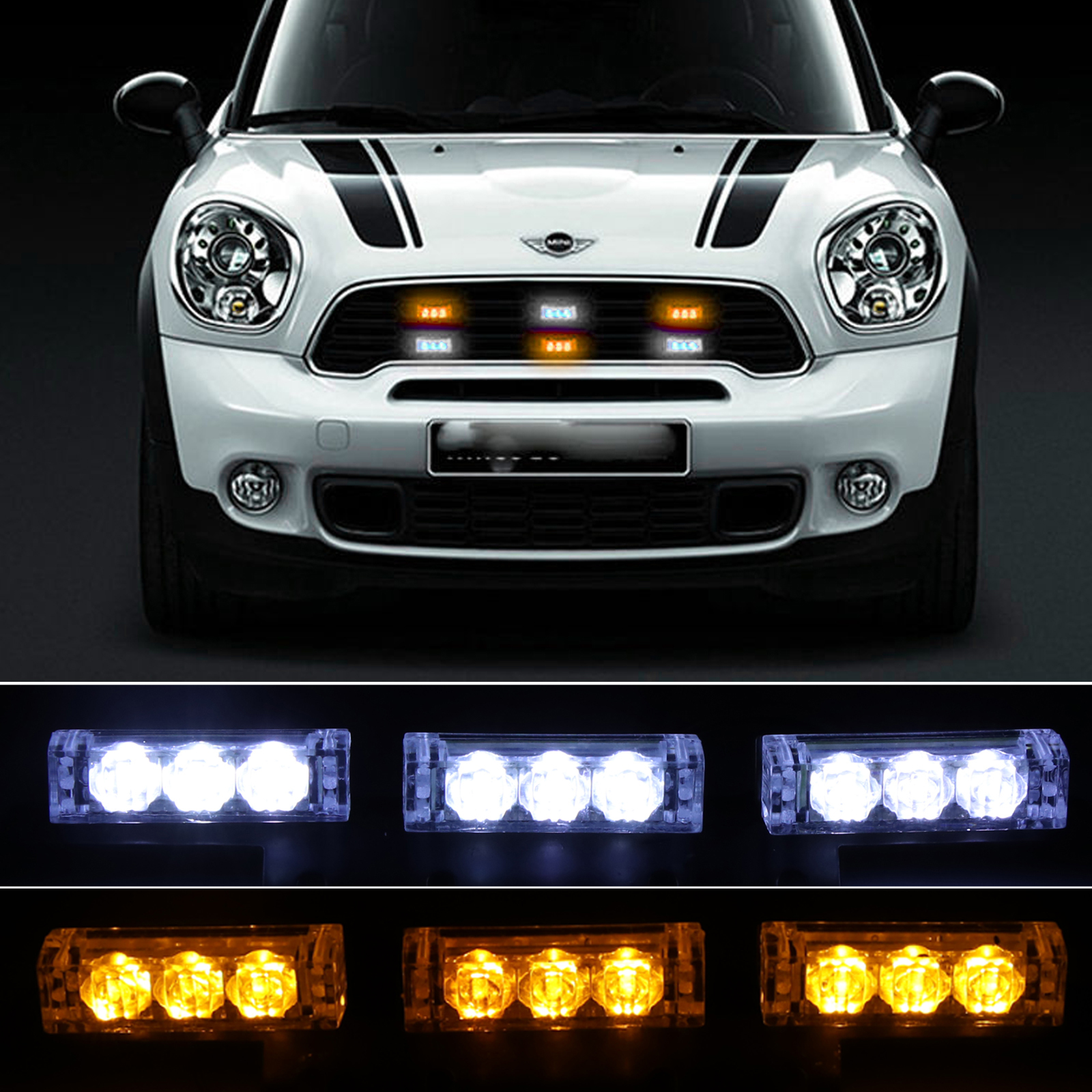 Vehicle Strobe Lights >> Details About 12v 54 Led White Amber Flashing Emergency Recovery Vehicle Strobe Grille Lights