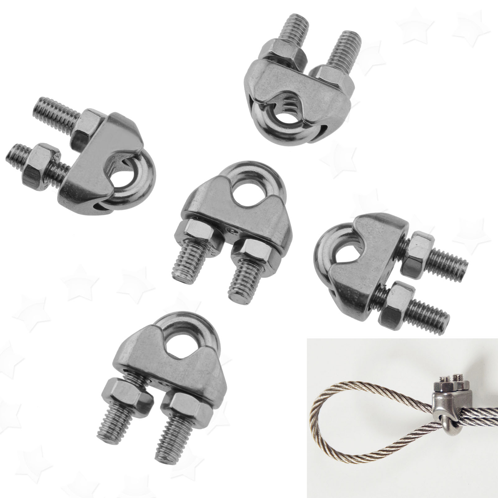 5x 6mm Wire Rope Grip Cable Clamp Saddle Clips U Bolt Fastener ...