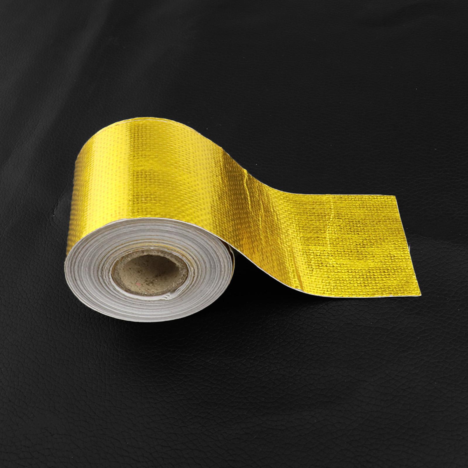 10m*5cm Gold Aluminum Foil Wrap Tape Heat Shield Roll Exhaust Car Protection NEW