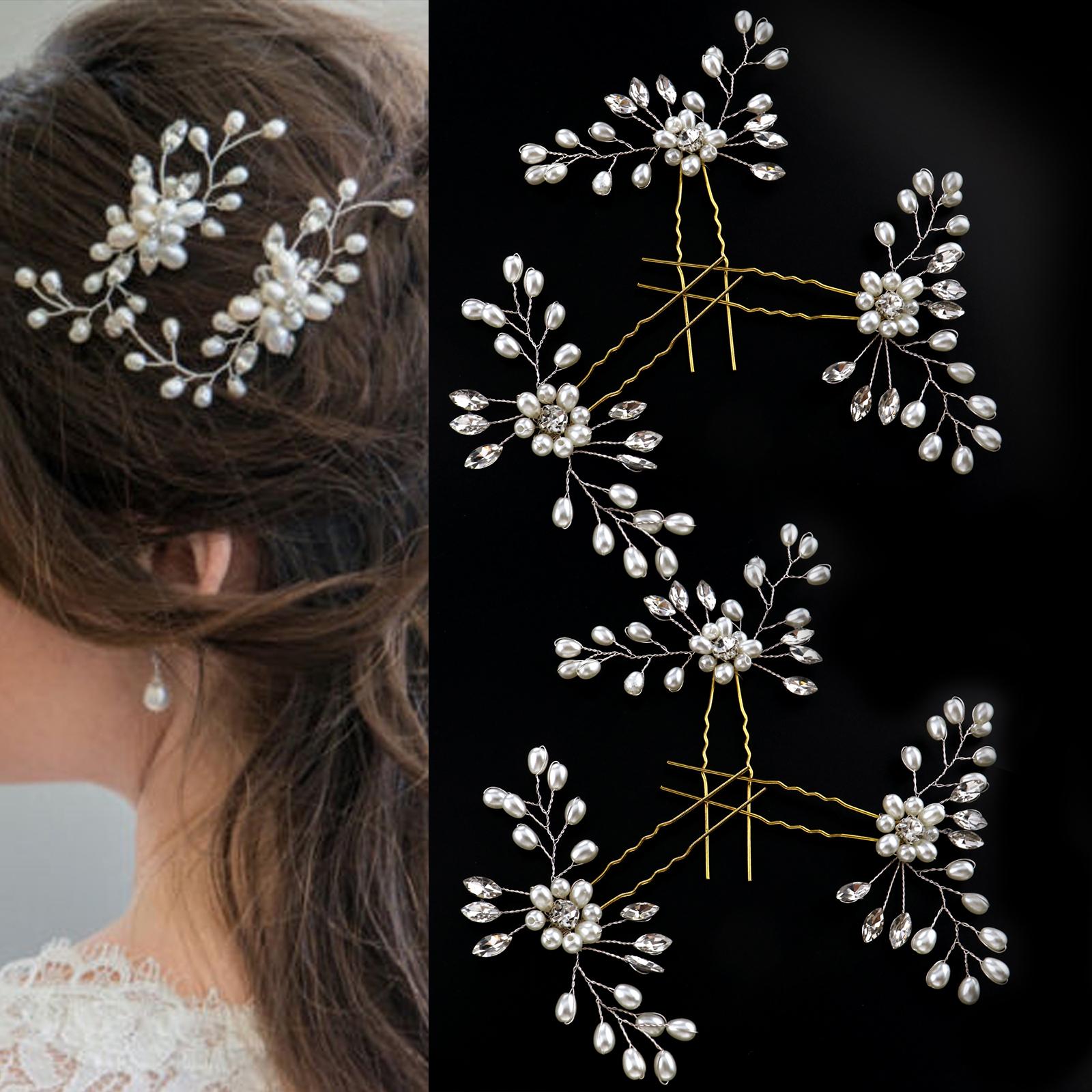 Wedding Bridal Flower Leaf Crystal Diamante Hair Comb Slide Fascinator Silver