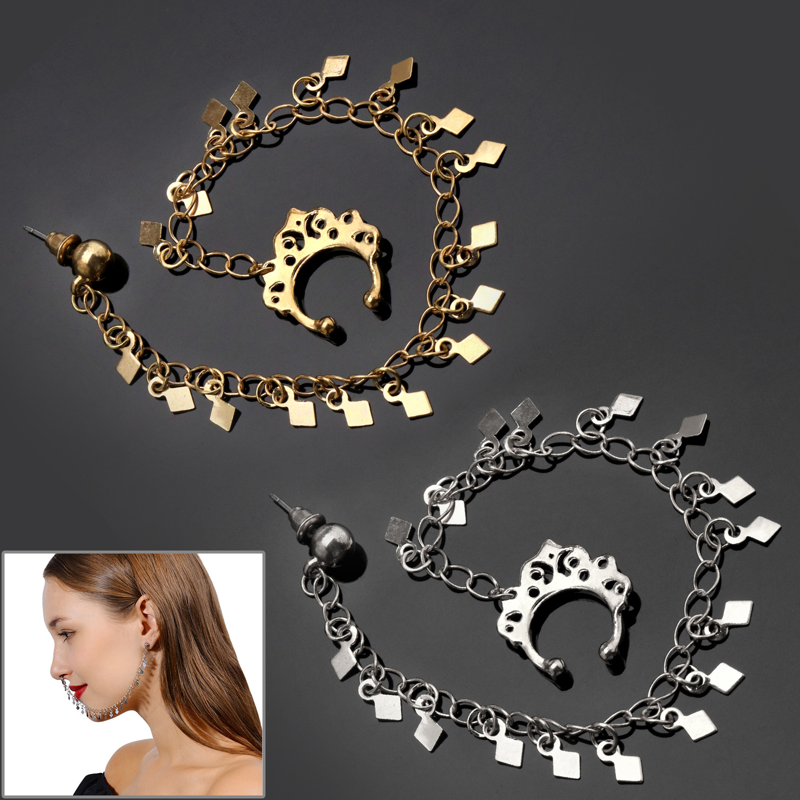 Indian NATH NOSE RING CHAIN BRIDAL PARTY JEWELLERY Fashion Beauty Accessory