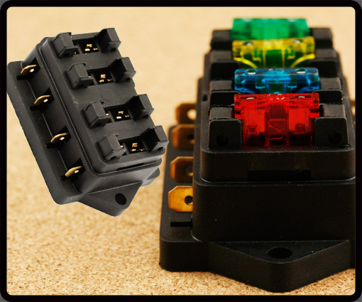 4 Way 12 Volt Standard Blade Fuse Box  Ato  Atc Holder Kit For 10a 15a 20a 30a 735548266174