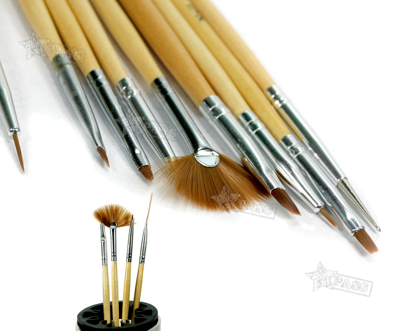 15 Wood Handle Nail Art Brushes Line Painting Drawing Brush Pen Set ...