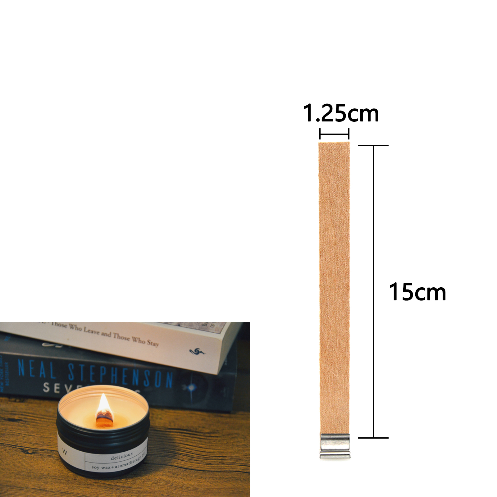 50x Wooden Candles Core Wick Making Supplies Iron Stands Room Xmas