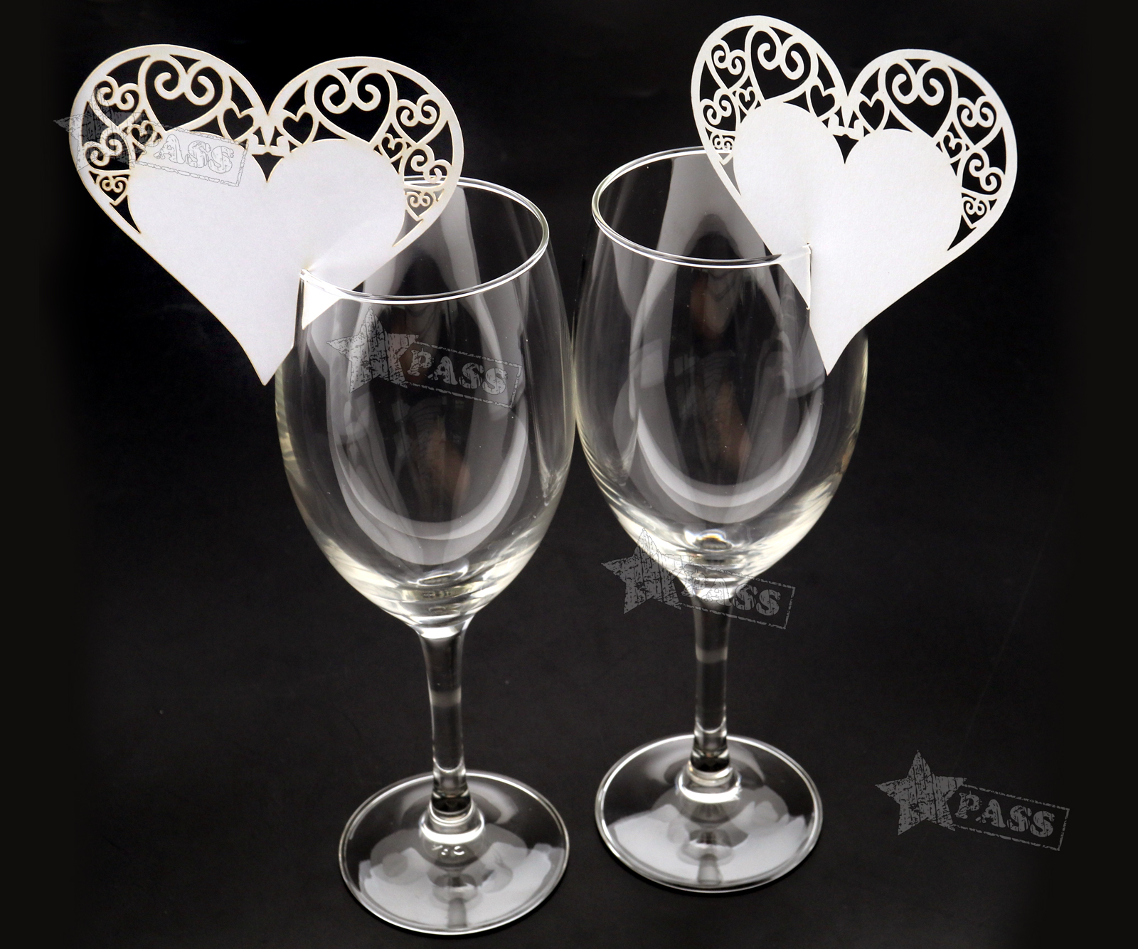 50x Love Heart Name Place Cards For Wedding Party Table Wine Glass Decoration