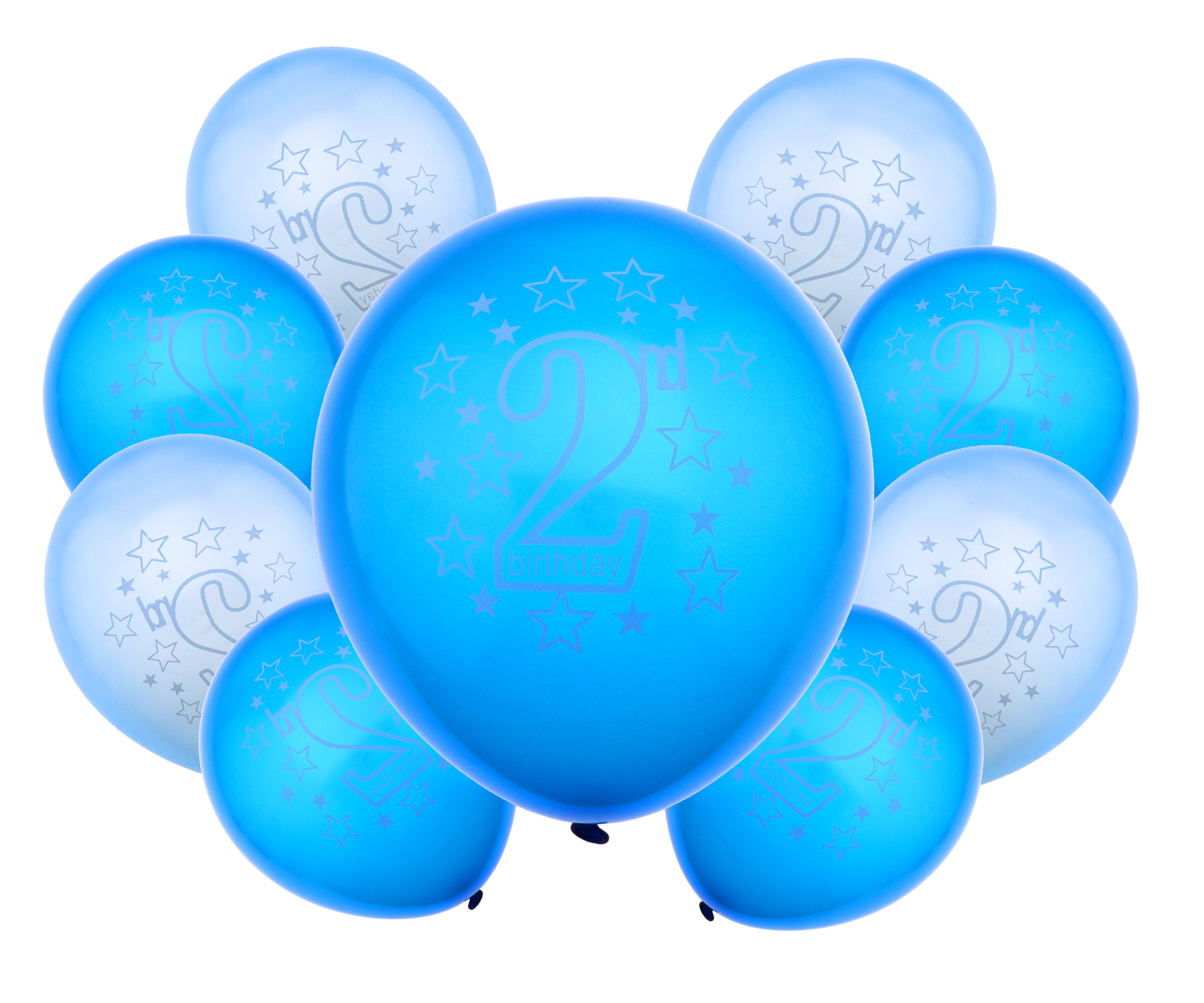 Boys HAPPY BIRTHDAY BALLOONS Age 2nd 2 Mix Blue Packs Of 20 Party Decoration