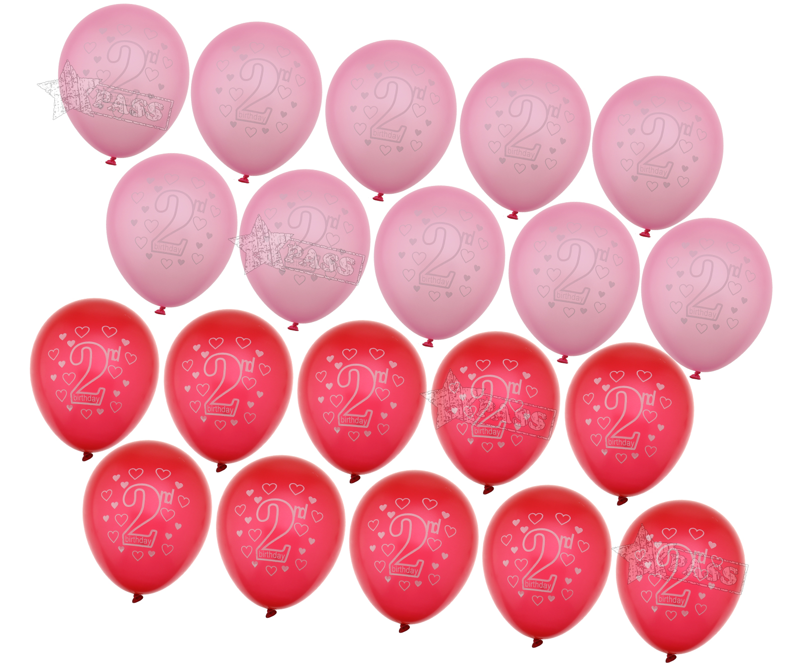 Girls HAPPY BIRTHDAY BALLOONS Age 2nd 2 Mix Pink Packs Of 20 Party
