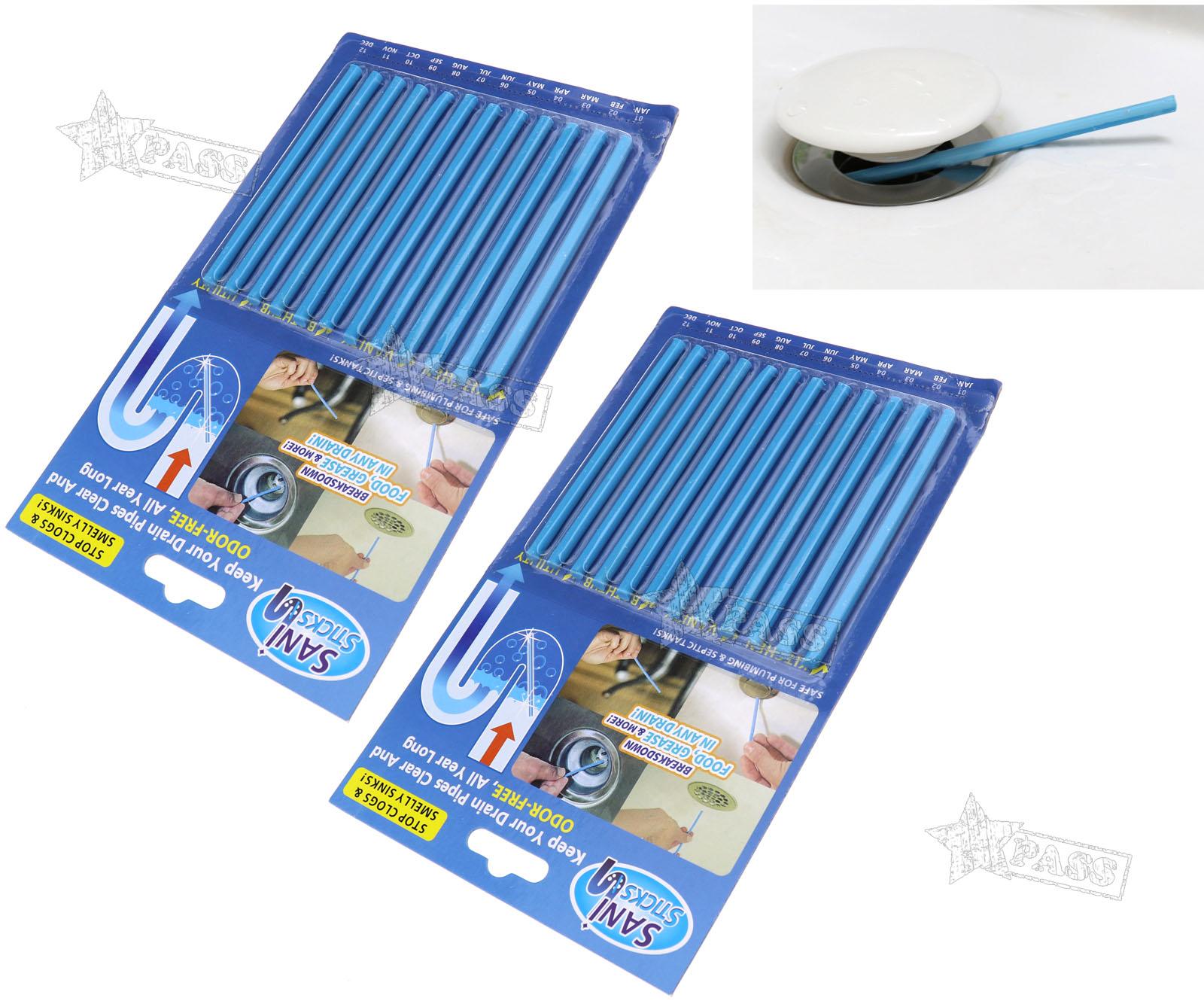 12/24 Pcs Drain Cleaner 10cm Sticks Deodorizer Kitchen Tub Bathroom ...