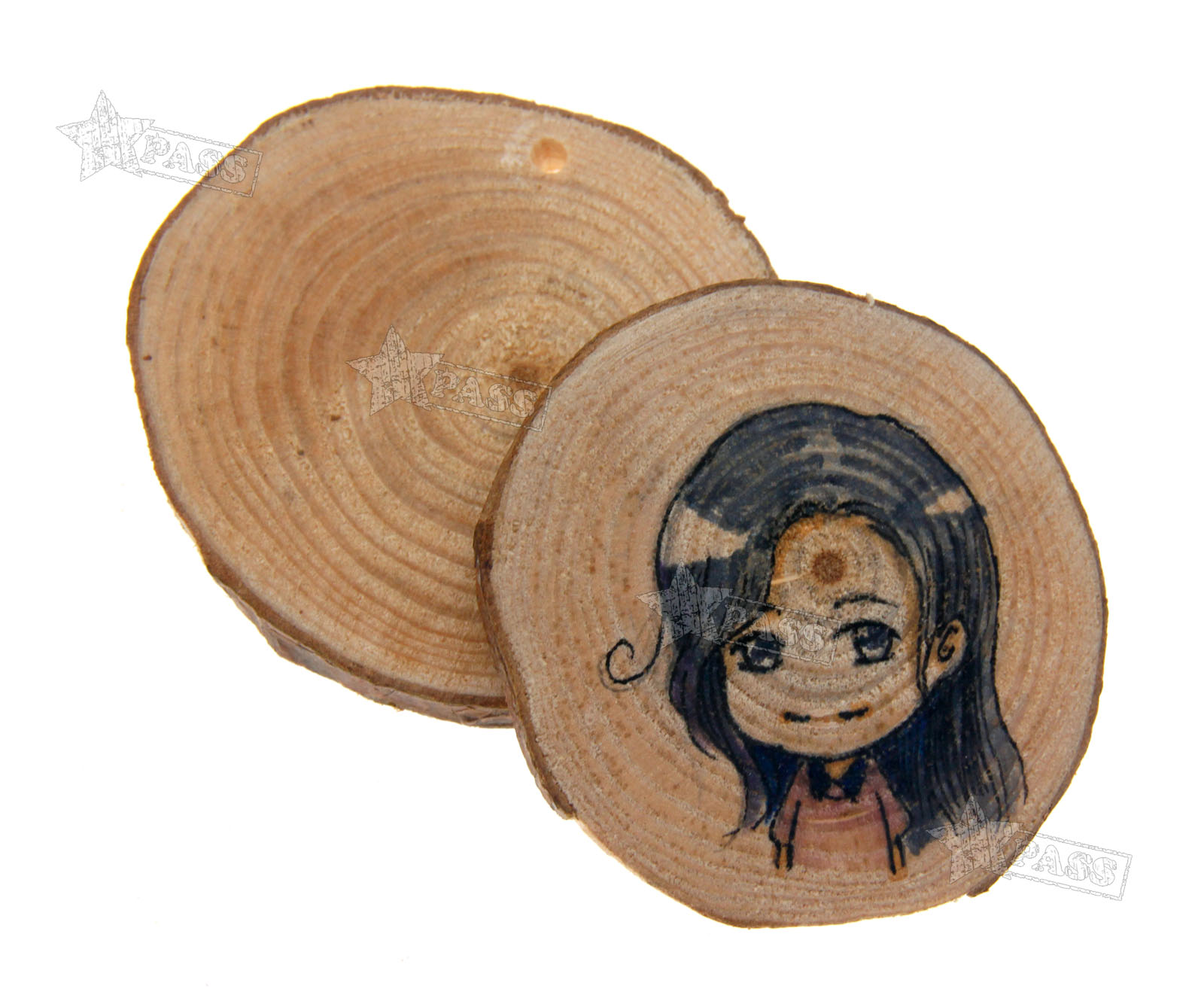 24pcs natural wood round discs slices with hole for diy for Wood circles for crafts