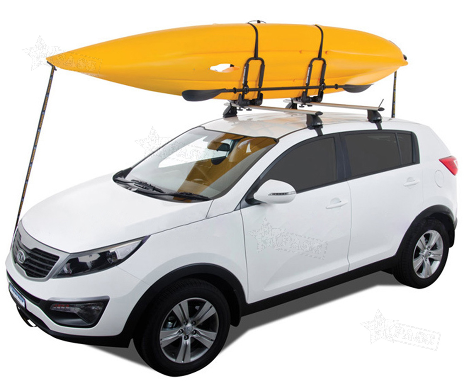 Kayak Roof Carrier >> Details About Heavy Duty Fold Away Kayak Roof Bars Rack Double J Bars Storage Strong Support